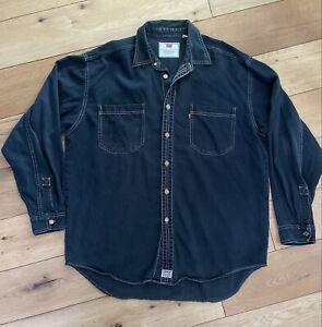 Men's Vintage Levi's Red Tab Black Denim Shirt Long sleeves Size Large 90's