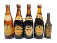 Vintage Miniature GUINNESS STOUT Souvenir Beer Bottles & Cigarette Lighter