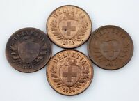 1851-1936 Switzerland 2Rappen Coin Lot of 4, KM# 4.1, 4.2a
