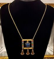 Vintage Egyptian style scarab pendant necklace.