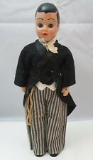 VINTAGE HARD PLASTIC 7 INCH MALE DOLL SUITCOAT & STRIPED PANTS **