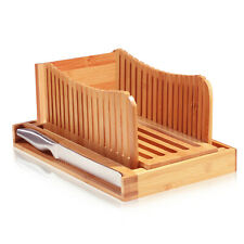 Bamboo Bread Slicer With Crumb Catcher Tray, Folds for Easy Storage By Bambusi