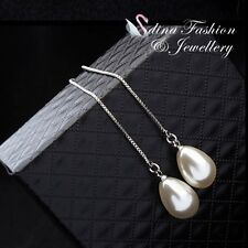 Simulated Pearl Gorgeous Ear Line Earrings 18K White Gold Plated White Teardrop