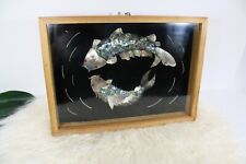 Abalone Mother of Pearl Koi Fish in Pond Pisces Framed Art Wall Hanging Asian
