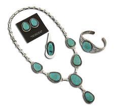 Navajo VTG .925 Sterling Silver & Kingman Turquoise Morris Begay Jewelry Set