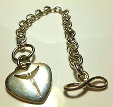STEVEN LANAGGI STERLING SILVER HEART ANGEL RELIGIOUS CABLE CHARM CHAIN BRACELET