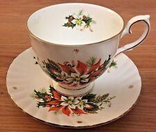 "Christmas Poinsettias ""NOEL"" Royalty fine bone china TEA CUP & SAUCER England"