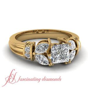 1.50 Carat Diamond Rings With Center Natural Princess Cut In 14K Yellow Gold GIA