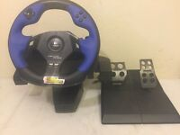 LOGITECH DRIVING FORCE FEEDBACK RACING WHEEL, Pedals, PS2, PS3, PC - TESTED