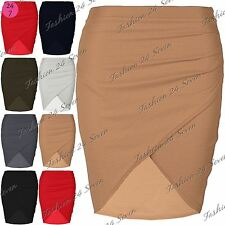 Womens Ladies Mini Skirt Wrap Over Side Ruched Waffle Fabrics Pencil Bodycon Fit