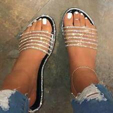 Eoeth Summer Women Rhinestone Studded Lace-Up Flats Shoes Ladies Fashion Casual Retro Slippers Crystal Sandals Slippers