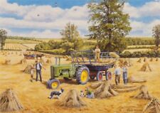 John Deere Tractor Farm Scene 1940s Blank Birthday Fathers Day Card
