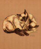 1941 Antique Siamese Cat Art Print Gladys Emerson Cook Siamese Cat Art 3483g