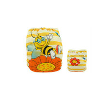 Reusable Modern Cloth Nappy + Microfibre insert – Smiling Bumble Bee & Flower