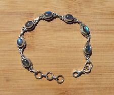 Rainbow Moonstone Sterling Silver Bracelet .925 Silver *BOHO* *HIPPY*