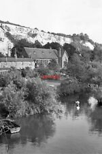PHOTO  1960 SUSSEX THE ARUN AT HOUGHTON AT HOUGHTON BRIDGE THE RIVER ARUN SPLITS