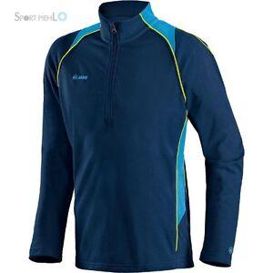 Jako Attack 2.0 Herren Fleece Sweatshirt mit Zip Marine Türkis Neongelb 7772