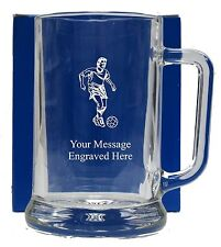 Personalised Football Pint Glass Tankard Birthday Free Gift Box GT16