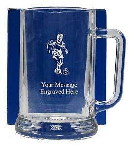 Personalised Football Pint Glass Tankard Birthday Free Gift Box GT16