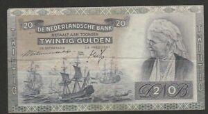 1941 NETHERLANDS 20 GULDEN NOTE