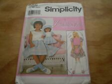 Simplicity Pattern 8066~Size 3 4 5 6~Girl's Dress & Hat & Doll Clothes~Uncut