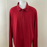 ADIDAS CLIMA 365 MEN'S RED ATHLETIC LONG SLEEVE POLO SWEATSHIRT SIZE 3XL