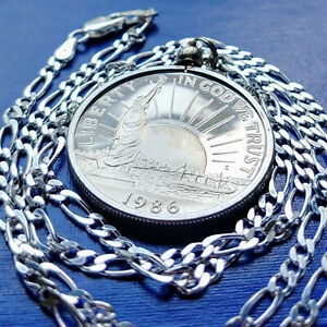 "1986 Ellis Island Statue of Liberty Coin Pendant on a 24"" Italian Silver Chain"
