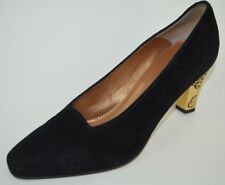 BALLY Vintage Women's Black Suede Heel Pumps Ornate Gold Deco Heel Size 6.5 M