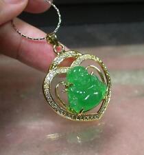 Gold Plate Green JADE Pendant Heart Buddha Necklace Diamond (Imitation) 280525