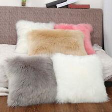 White Soft Fur Fluffy Plush Throw Pillow Case Chair Sofa Home Room Cushion Cover