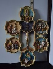 VNT Ceramic Life Of Jesus Cross/Crucifix Colorful Depiction of Christ's Ministry