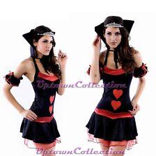 Ladies Queen of Hearts Alice in Wonderland Fairy Tale Fancy Dress Costume 4 Pc
