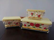 New listing Temp-tations 12 Piece Casserole Bake Set Red Yellow Rose Pattern Trim By Tara