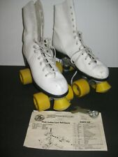 Vintage Roller Derby Size 9 Ladies Roller Skates White w/Yellow Wheels