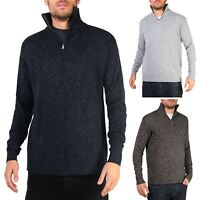 Mens Soft Wool Knit Half Zip Funnel Neck Jumper Sweater Top Grandad Pullover Top