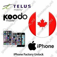 TELUS KOODO CANADA iPhone 4s 5 5s 6 6s 6+ 6s+ 7 7+ 8 X XR XS Plus UNLOCK CODE