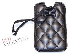 $225 RED VALENTINO Black FAUX LEATHER Quilted IPHONE 4 Cover CASE Logo BOW