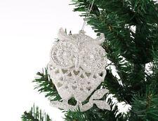 XMO2 3 pezzi Glitter Luccicanti ARGENTO GUFO Natale albero di Natale