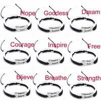 2Pc Lucky Inspire Letter Braided Rope Bracelet Bangle Couple Friendship Handmade