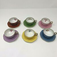 Puls Germany Demitasse Cups and Saucers Porcelain Assorted Colors Set of 6