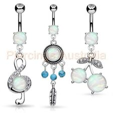 Imitation Opal Stone Belly Button Bar Navel Ring Body Piercing Jewellery
