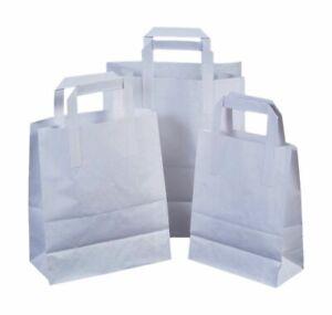 100 Medium white KRAFT CRAFT PAPER SOS CARRIER BAGS LUNCH DINNER TAKE AWAY