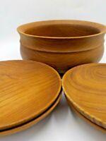 """Vtg Solid Teak Wood Serving Bowl &  (4) 8"""" Side Plates Salad Appetizers"""