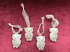 Four  Sweet Hanging Owls Decorative With Clear Rhinestones Ornaments