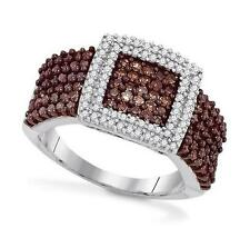 10K White Gold Chocolate Brown & White Diamond Ring 1.0ct - Square Cluster Ring
