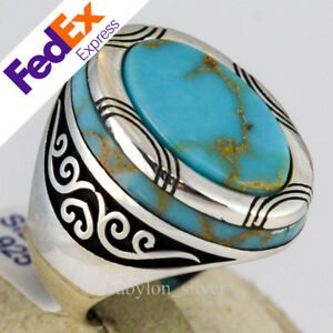 925 Sterling Silver Turquoise Stone Luxury Turkish Handmade Men's Ring All Sizes