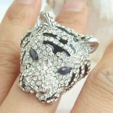 Unique Animal Cocktail Tiger Ring Clear Austrian Crystal CR495C3