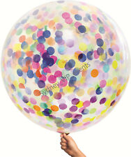 GIANT CONFETTI BALLOON RAINBOW BIRTHDAY PARTY 90CM CLEAR JUMBO HELIUM UNICORN