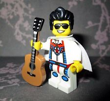 "NEW! Lego Custom ELVIS PRESLEY Minifigure With Acoustic Guitar & ""Sequined"" Cape"