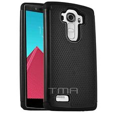 LG G4 Heavy Duty Rubber Dual Layer Impact Shockproof Hybrid Case Cover -  Black